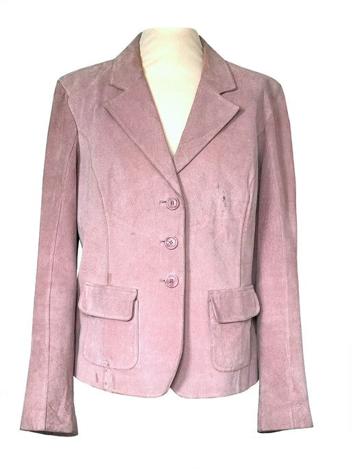 70s Pink Blush Genuine Suede Leather Single Breast Vintage Blazer Jacket, Plus size Ladies leather suede jacket, ladies jacket Large-XLarge
