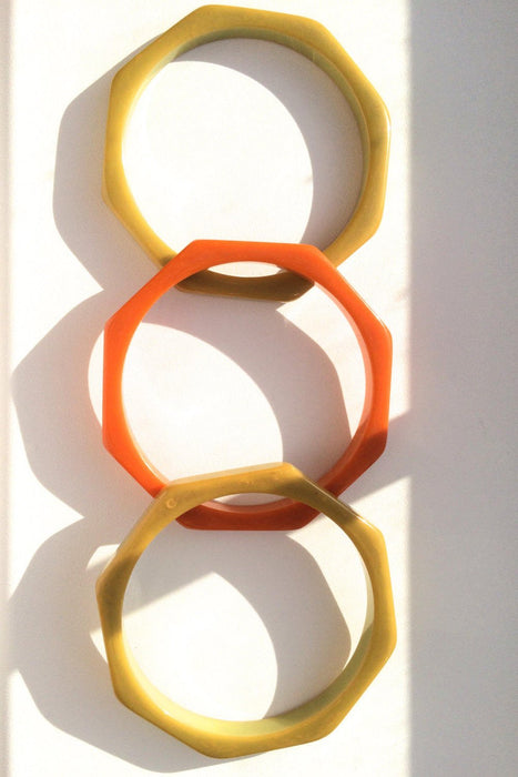 RARE! 30s Vintage 3 Marbled Bakelite Geometric Octagon 8-sided Bracelets Pumpkin Orange Butterscotch/Avocado Green Swirled TESTED AUTHENTIC