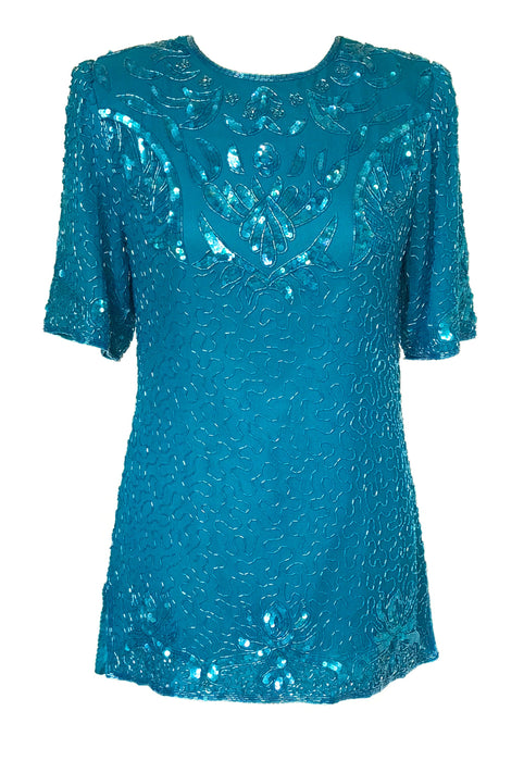 80s Vintage Cerulean Blue Pure Silk Fitted Sequin Beaded Long Tunic Occasion Party Trophy Evening Top Blouse Dress, gift for her, wedding