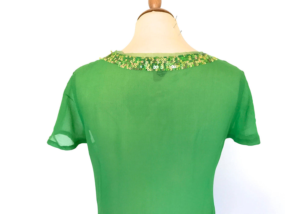 90s Antik Batik Vintage Spring Green Pure Sheer Silk Crepe de Chine Sequinned Smart Casual Occasion Party Top St Patrick's gift, Easter gift