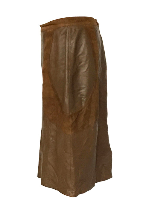 80s Leather Panel Suede Brown Lined Pencil Skirt, Italian suede leather skirt, punk new wave retro old school skirt, vintage leather skirt