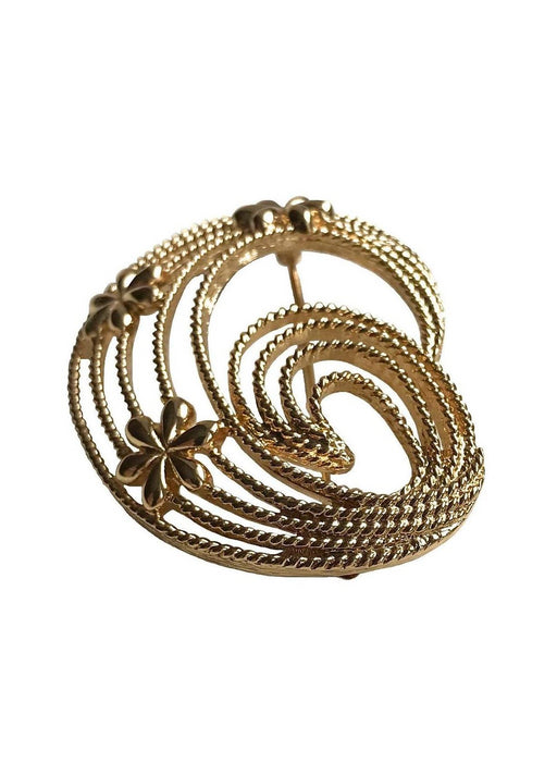 Monet Signed Vintage Large Floral Swirl Rope brooch pin, Mother's Day gift, gift for her, lapel brooch, wedding bridal jewellery