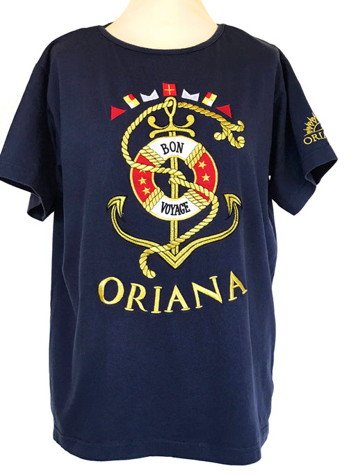 80s Unisex Collectable Oriana Bon Voyage Gold Embroidered T Shirt by Sail Away, Mens Womens Nautical Sailor Navy Blue Embroidered T-Shirt