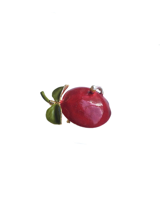 60s Original by Robert Signed Vintage Enamelled Worm and Pearl Red Apple Brooch Pin, Shawl Pin, Lapel Pin, Vintage Apple Fruit Brooch Pin
