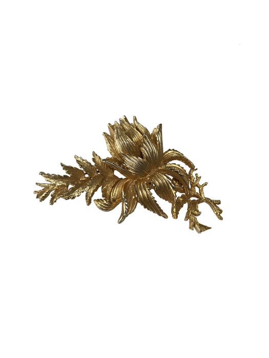 50s Exquisite Signed Large Statement Gold Tone 3D Thistle Flower Leaf Brooch Pin, Scottish Thistle brooch, Wedding Bridal jewellery brooch