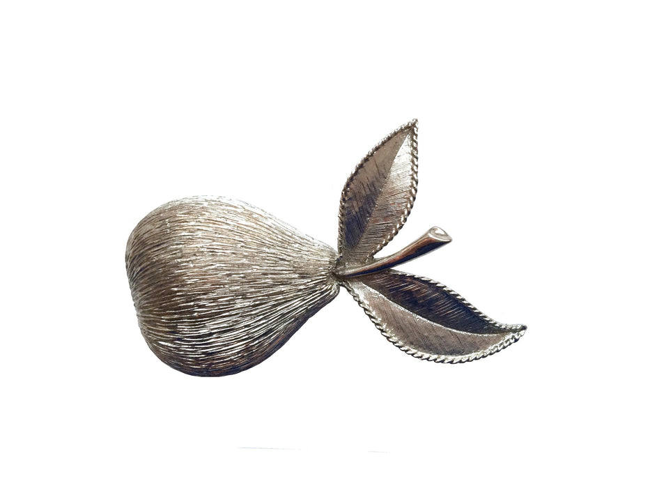 60s Emmons Signed Vintage Large Chunky Brushed Silver Tone Pear Brooch, Figural Fruit brooch pin, Mother's Day gift, Summer jewelry