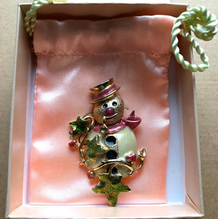 KIRKS FOLLY Signed Glitter Enamel Christmas Snowman Brooch Pin in Original Box, Vintage Designer Snowman Christmas New Year Brooch Pin