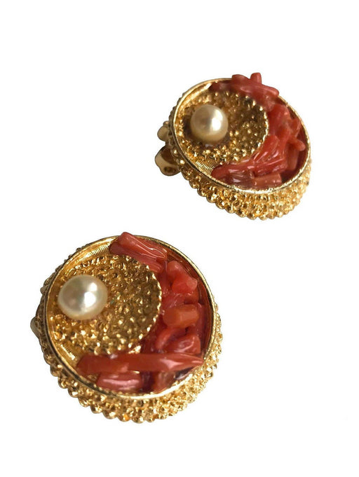 50s-60s Capri Signed Vintage earrings, nautical textured Coral faux pearl 3D clip on earrings, rare mid century Capri collectible jewellery