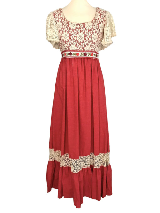 60s Couriers California Deep Coral Red Floral Cream Venetian Lace Prairie Folk Gunne Sax Style Dollybird MOD Festival Party Prom Maxi Dress