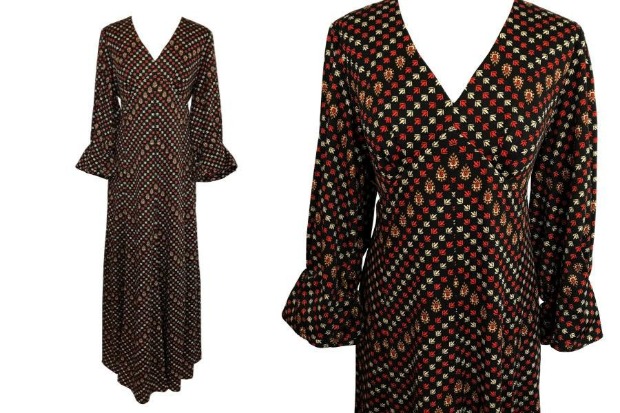 70s Black Rust Beige Orange Abstract Print Puff Sleeves Boho Maxi Dress, Occasion Evening Party Thanksgiving Autumn Winter Dress sz Large