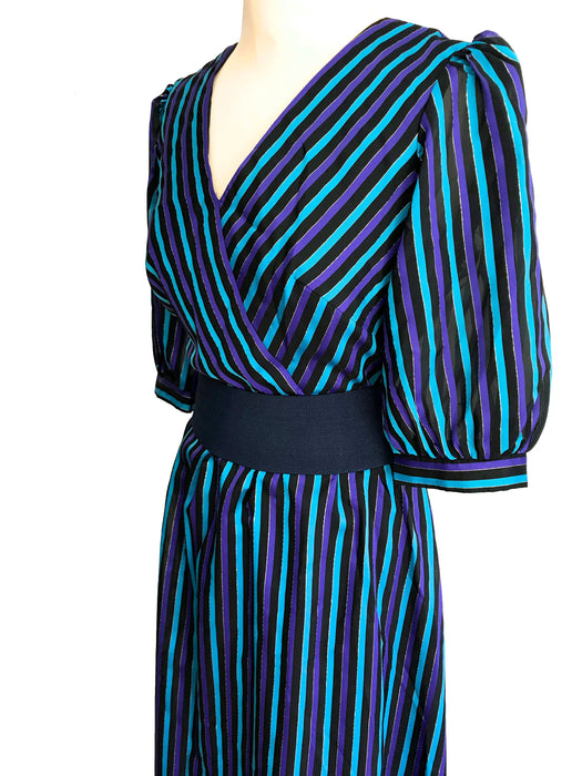 80s Black Turquoise Purple Metallic Pinstripe Evening Party Maxi Dress, Halloween Dress, Show Costume Occasion Evening Party Wedding Dress