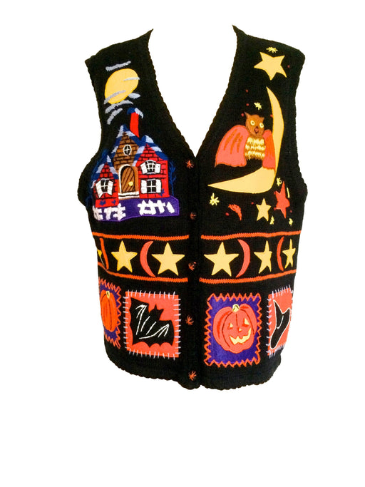 Halloween Ugly Black Orange Holiday Sweater Cardigan Vest Owl, Moon, Bat, Spooky House, Stars, Pumpkin, Jack-o-Lantern, Witches Hat Print