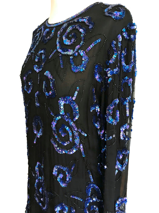80s Frank Usher Royal Blue Black Two Piece Outfit Set 20's Flapper Gatsby Style Sequinned Beaded Sheer Silk Chiffon Long Sleeve Tunic Skirt