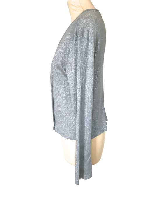 70s Silver Lurex Metallic Soft Viscose Jersey Knit V-Neckline Buttoned Cardigan Jacket Sweater Top, Lady Like Elegant Silver Silk Cardigan