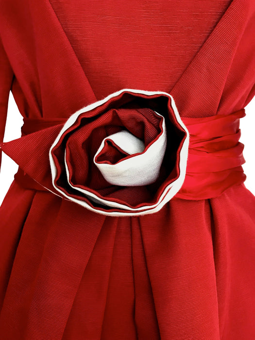 80s French Chic Fire Brick Crimson Red Tulip Shaped Bateau Neck Rosette Trim Dynasty Occasion Cocktail Party Formal Tea Knee Length Dress
