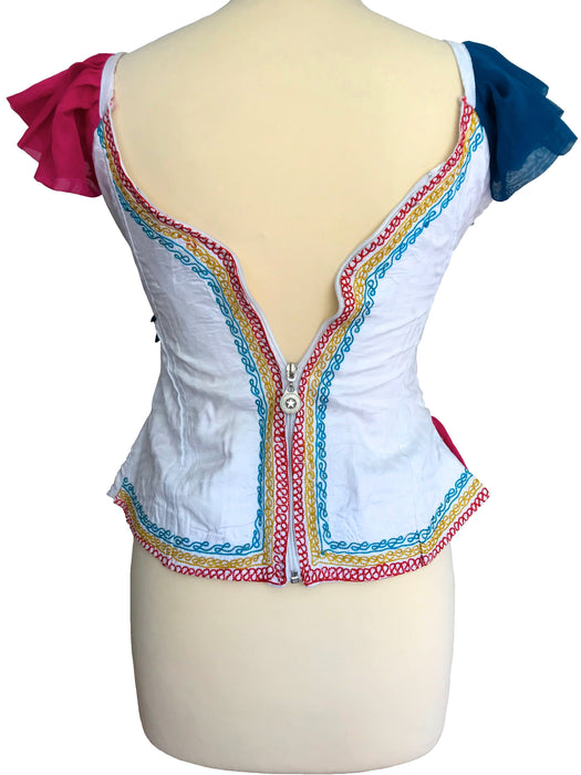 70s French Vintage Stunning Colourful Embroidered Beaded Sequinned Magenta Pink Blue Yellow Ruffle Sweetheart Boho Hippie Festival Top,