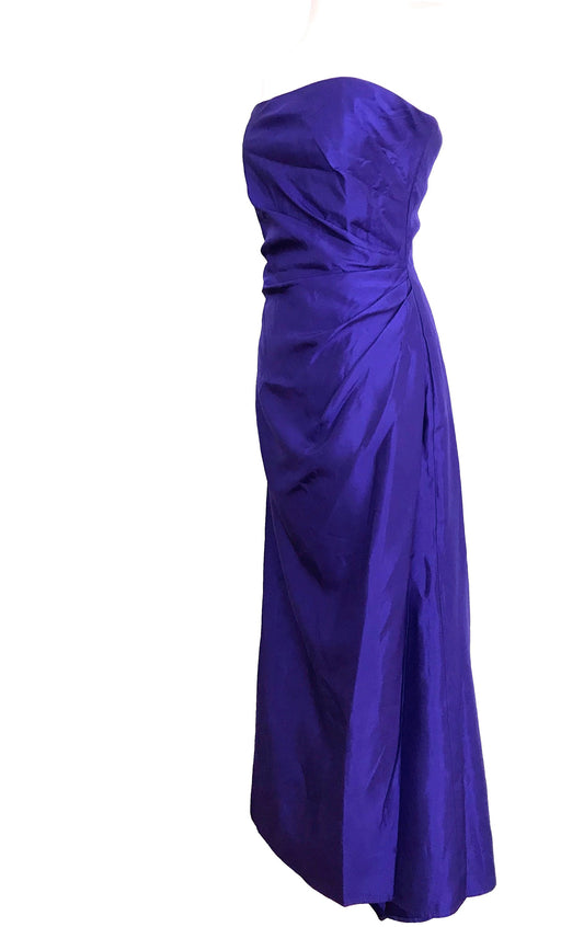 80s Jessica McClintock Gunne Sax Iridescent Two Tone Purple Blue Mermaid Fishtail Strapless Draped Prom Formal Evening Xmas NY Party Dress