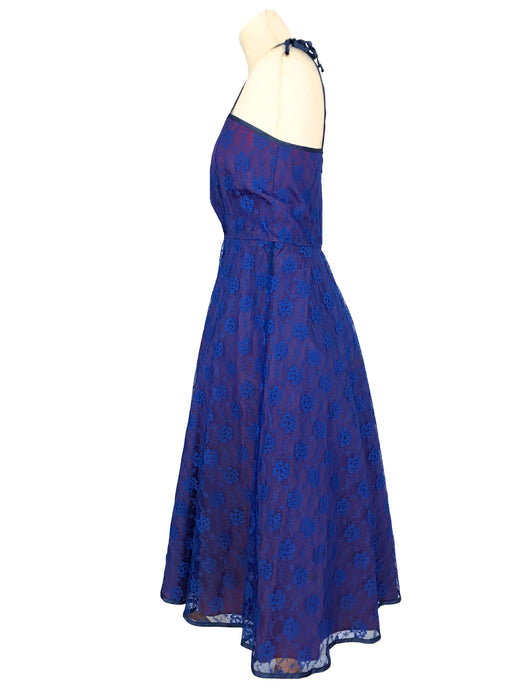 80s does 50s Two Tone Royal Blue Plum Purple Lace Full Circle Swing Spaghetti Straps Rockabilly Bombshell Pin up Prom Cocktail Party Dress