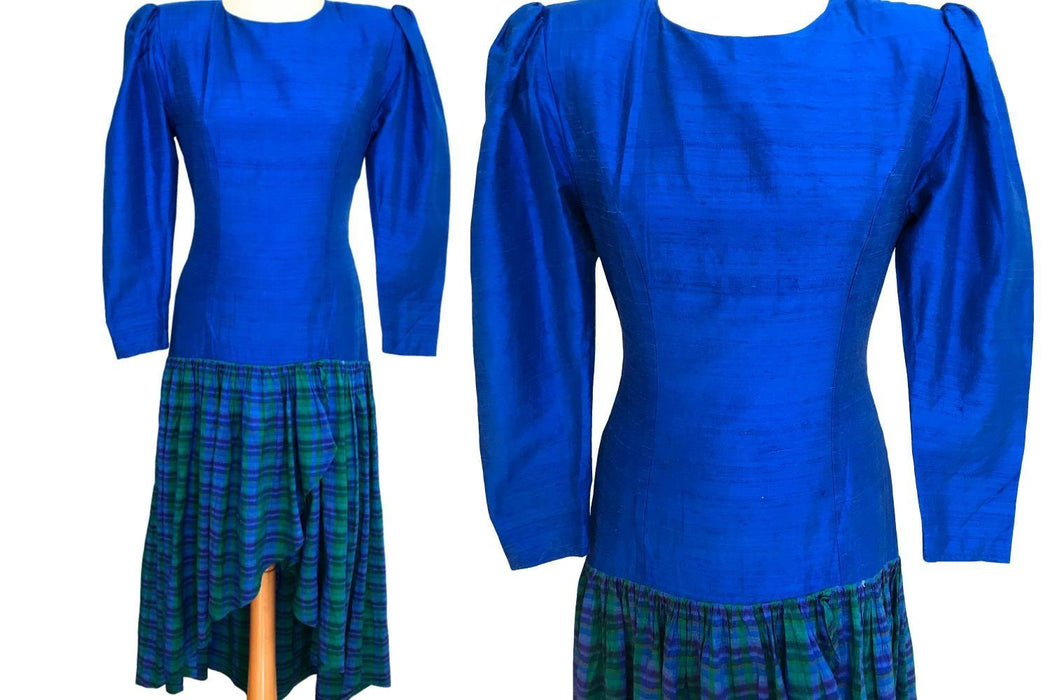 80s Cobalt Blue Green Purple Raw Silk Check Tartan Wrap Skirt Puff Sleeve Dropped Waist Dress Retro Boho Occasion Cocktail Xmas Party Dress