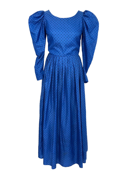 70s Royal Blue Black Velvet Flock Raised Polka Dots Boho Evening Maxi Dress, Victorian Style Silk Blue Black Leg of Mutton Sleeve Ball Gown
