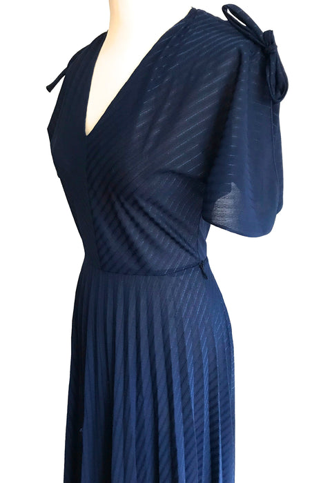 70s Midnight Blue Accordion Pleated Semi-Sheer Stripe Split Flute Tie Sleeve Boho Chic Festival Occasion Christmas Party Wedding Maxi Dress