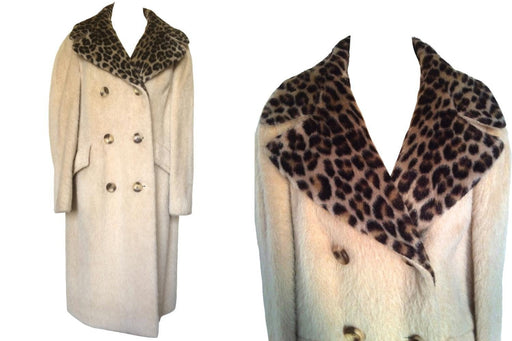60s Eastex Pure Mohair Fuzzy Ladies Mohair Parmesan Cream Double Breasted Large Wide Lapel Leopard Animal Print Collar 50s Style Winter Coat