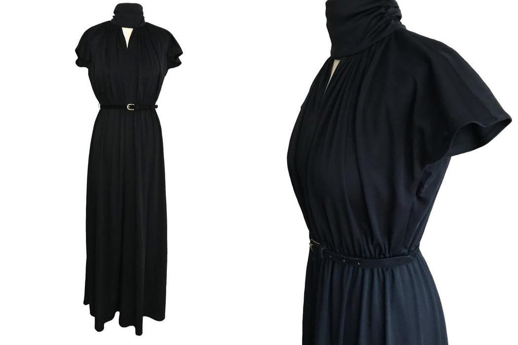 70s French Vintage Funky Black Choker Neck Gothic Victorian Kimono Silky Jersey Goddess Boho Maxi Dress, Black Halloween Xmas Party Dress