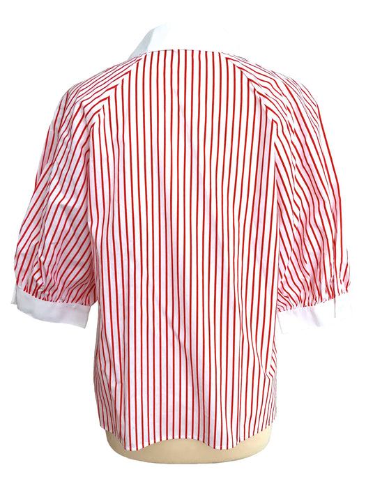80s Pure Cotton Red & White Striped Nautical Sailor Double Breast Raglan Puffed Sleeves Buttoned Notched Collar Blouse Top, Diana Day Blouse