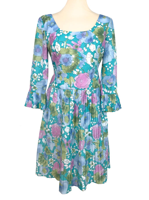 60s Blossoming Garden Blue Green Pink Pleated MOD Mad Men Skater Flare Ruffle Cuff Dolly Occasion Wedding Races Garden Party Tea Dress