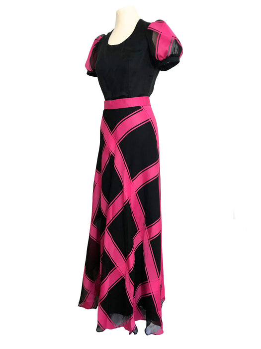 70s Sheer Organza Hot Pink Black Bias Cut Check Stripe Puff Sleeve Boho Chic Festival Evening Christmas NY Party Wedding Cocktail Maxi Dress