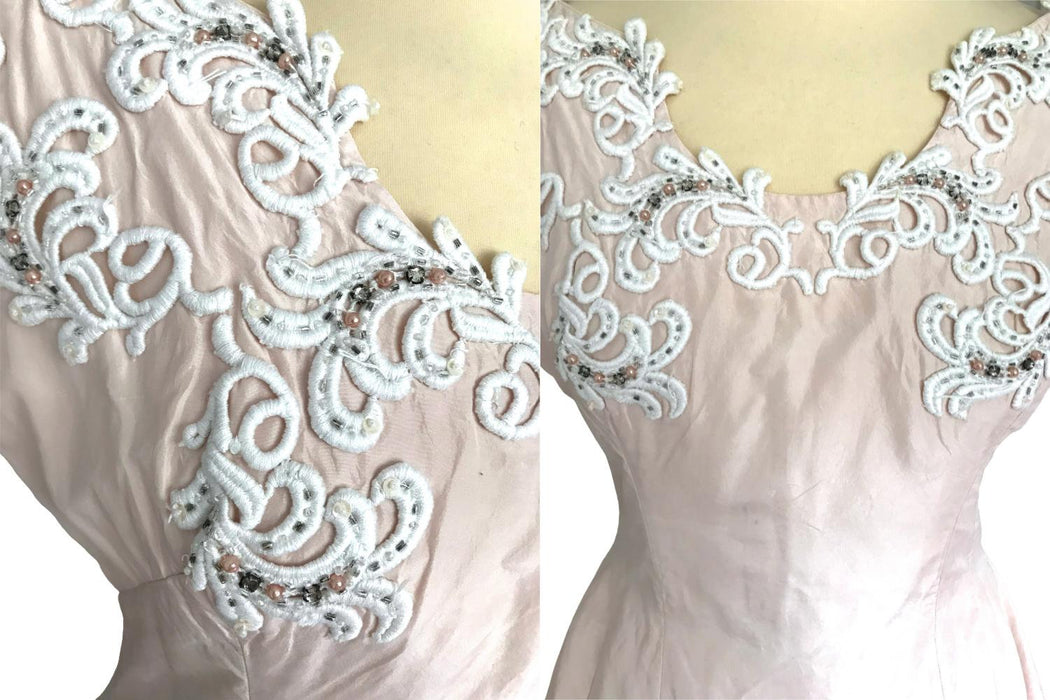 50s Whipped Cream Blush Silk Lace Rhinestone Trim Sweeping Full Circle Skirt Rockabilly Pin Up Bombshell Swing Prom Wedding Occasion Dress