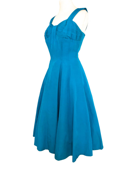 50s Tropical Turquoise Blue Silk Crepe Sweeping Skirt Full Swing Rockabilly Pin Up Bombshell Occasion Wedding Party Pleated Prom Sun Dress