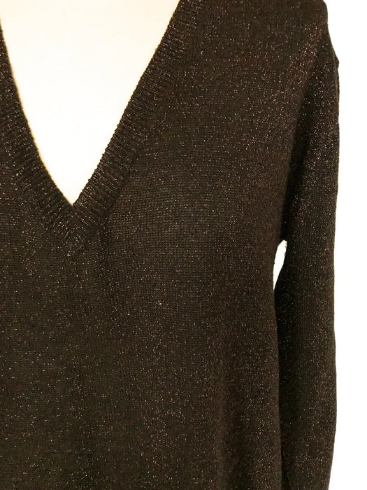 70s-80s Chocolate Brown Red Glitter Cotton Lurex Metallic Thread Jersey Knit Long Tunic Pullover Sweater Disco Christmas New Year Party Top