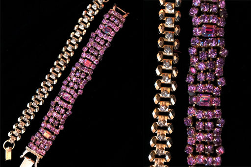 LOT of Two Art Deco Style Sparkly Rhinestones Pink Purple and Golden Tone Diamante Link Bracelets, Wedding Bridal Evening Party Bracelets