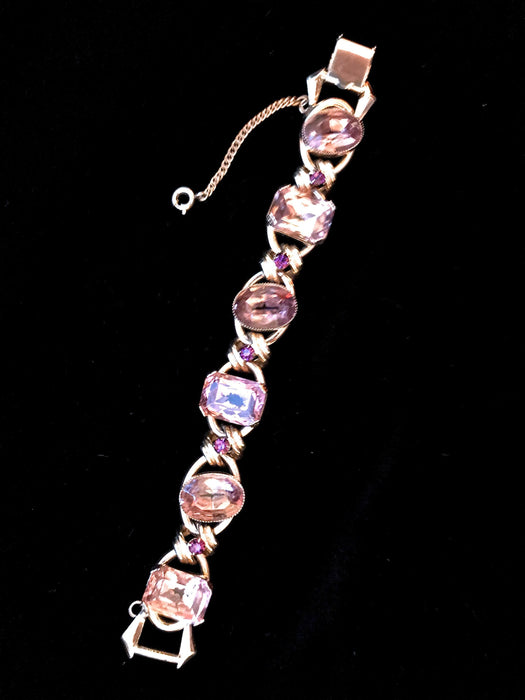50s Pink Lavender Austrian Crystal Foiled Glass Cabochon Stones Gold Tone Open Work Sparkling Ornate Link Bracelet, Wedding Bridal jewellery