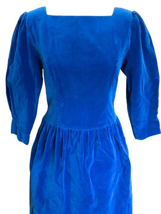 80s does 50s Lanz Sapphire Blue Cotton Velvet Puffed Sleeve Two Pockets Gathered Skirt Xmas NY Cocktail Party Wedding Occasion Evening Dress
