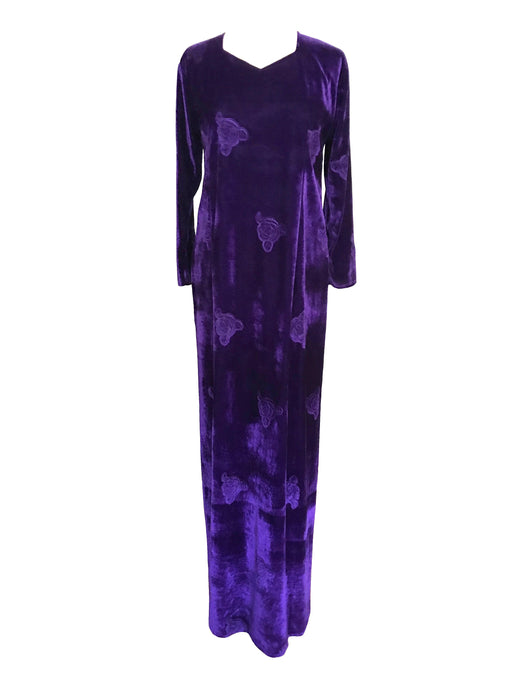 90s Royal Purple Violet Velour Burned Roses Dress Grunge Boho Hostess Maternity Xmas Party Mardi Gras Festival Prom Occasion Maxi Dress