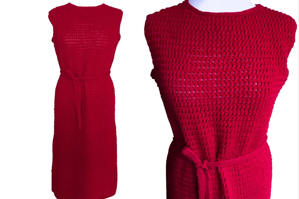 60s Hand Crochet Knit Deep Red Belted MOD Mad Men Tank Shift Wiggle Summer Sleeveless Day Dress, Hand Knitted Crochet Jersey Red Tank Dress