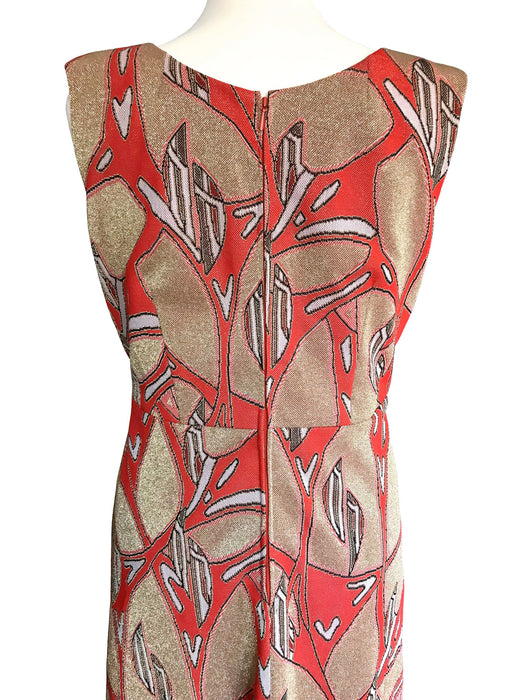 70s Red Orange Lava, Beige Gold Lurex Metallic Thread Pop Art Abstract Pattern MOD Column Flared Party Evening Wedding Races Prom Maxi Dress