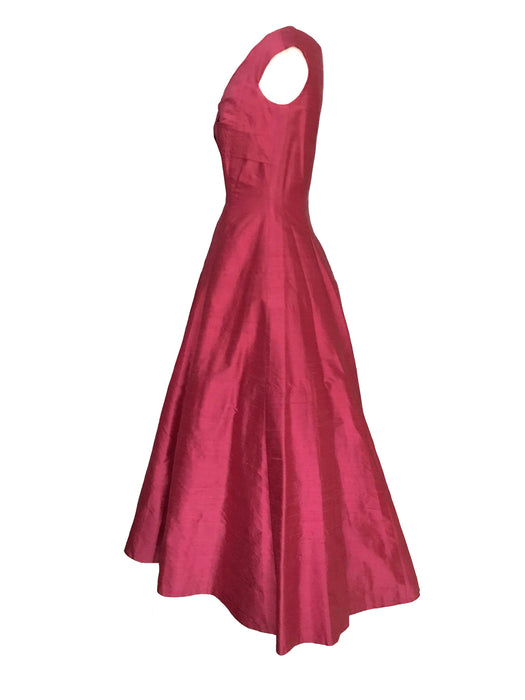 80s does 50s Pure Silk Monsoon Twilight Deep Coral Red Full Skirt Swing Dress Special Occasion Evening Prom Party Wedding Dress Ball Gown