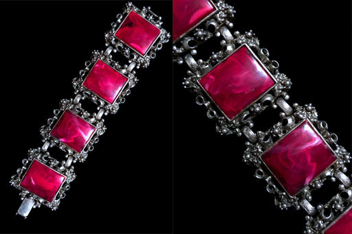 50s Selro Fuchsia Purple Lucite Square Cabochons Silver Tone Metal Ornate Link Bracelet, Wedding Bridal Prom Party Evening Gift Bracelet
