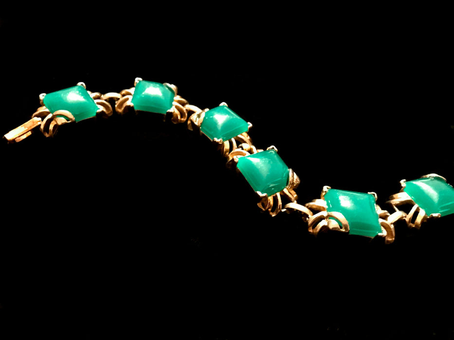 50s Jade Green Square Cabochons Gold Tone Metal Ornate Link Bracelet, Gift Jewellery gift for her, Mother's Day gift, St. Patrick's Day gift
