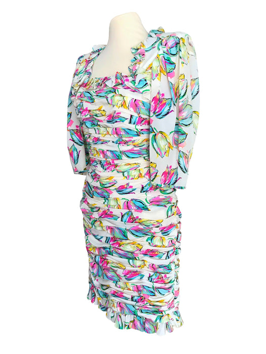 80s EMANUEL UNGARO Pure Silk Ivory Cream Abstract Print Neon Pink, Turquoise Blue, Yellow, Green Ruched Ruffle Cocktail Wiggle Sheath Dress