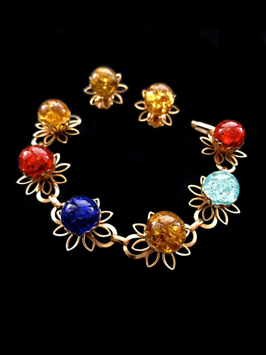 70s Crackle Acrylic Plastic Cabochon Red, Azure and Baby Blue and Honey Amber, Flower Filigree Link Bracelet and Clip On Earrings Prom Set