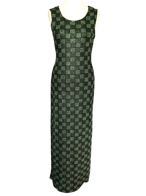 80s Art Deco Square Pattern Glam Metallic Shades of Green and Silver Sequinned Shimmer Sparkling Wiggle Evening Occasion Party Maxi Dress