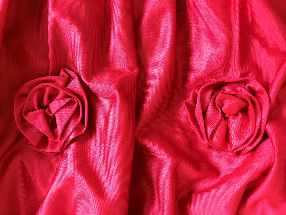 80s Red Shine Bubble Skirt Smock Rosettes Trim Prom Cocktail Christmas Party Mardi Gras Festival Occasion Pin Up Rockabilly Skater Dress