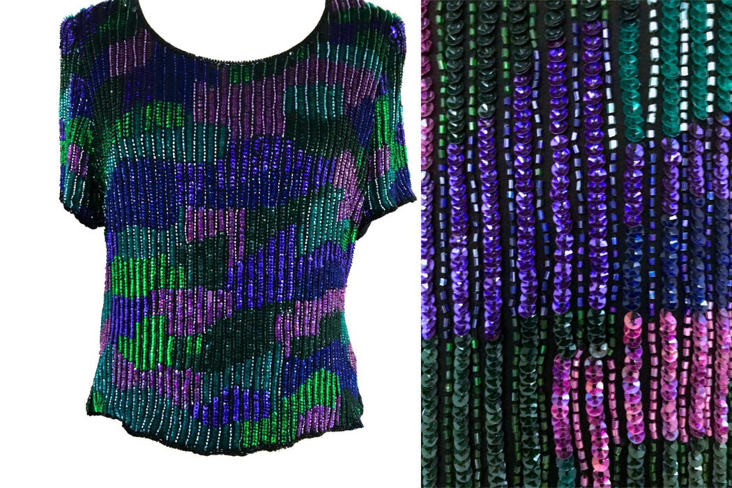 80s-90s FRANK USHER Sequinned and Beaded Mardi Gras Festival Carnival Glitz Evening Prom Party Top Blouse, Wedding Xmas New Year Trophy Top