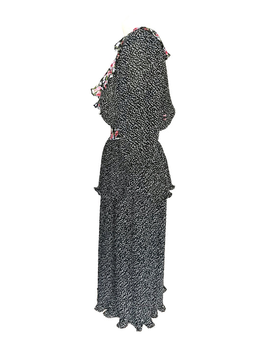 80s Susan Freis Neiman Marcus Plunging Neck Black & White Polka Dot Floral Ruffle Plisse Pleated Cocktail Party Wedding Races Occasion Dress
