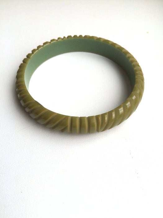 40s-50s Art Deco LOT of Two Domed Genuine Bakelite Olive Green & Cream Corn Yellow Carved Party Festival Bangle Bracelets Tested Authentic