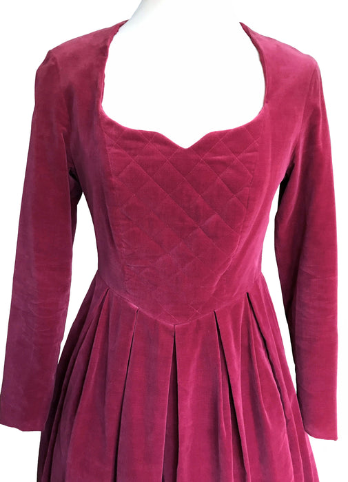 80s Laura Ashley Raspberry Dark Pink Velvet Gothic Steampunk Elizabethan Sweetheart Pleated Evening Xmas Party Prom Wedding Costume Dress
